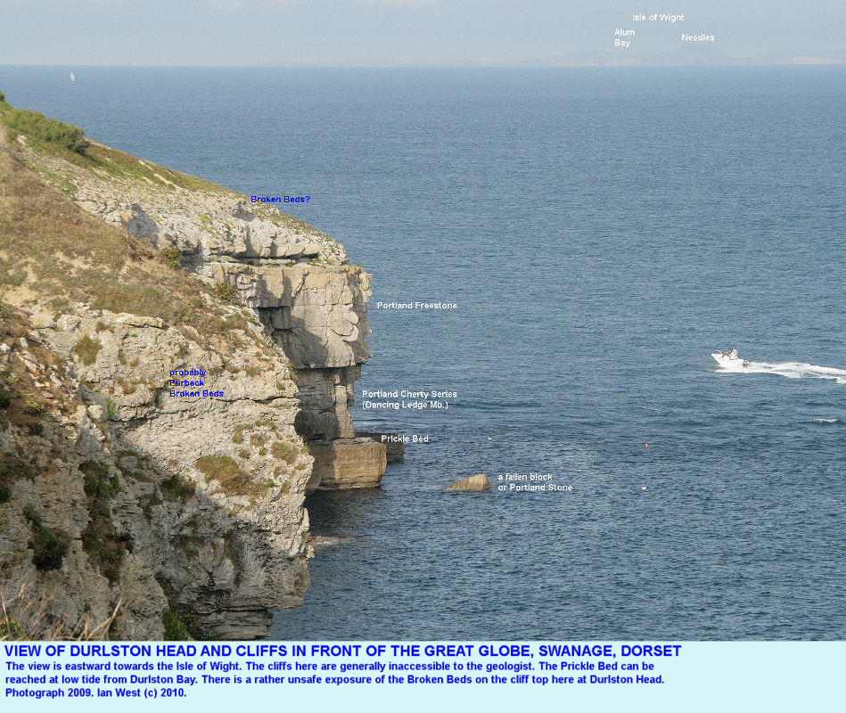 The end of the headland of Durlston Head, Dorset, and the cliffs south of the Great Globe
