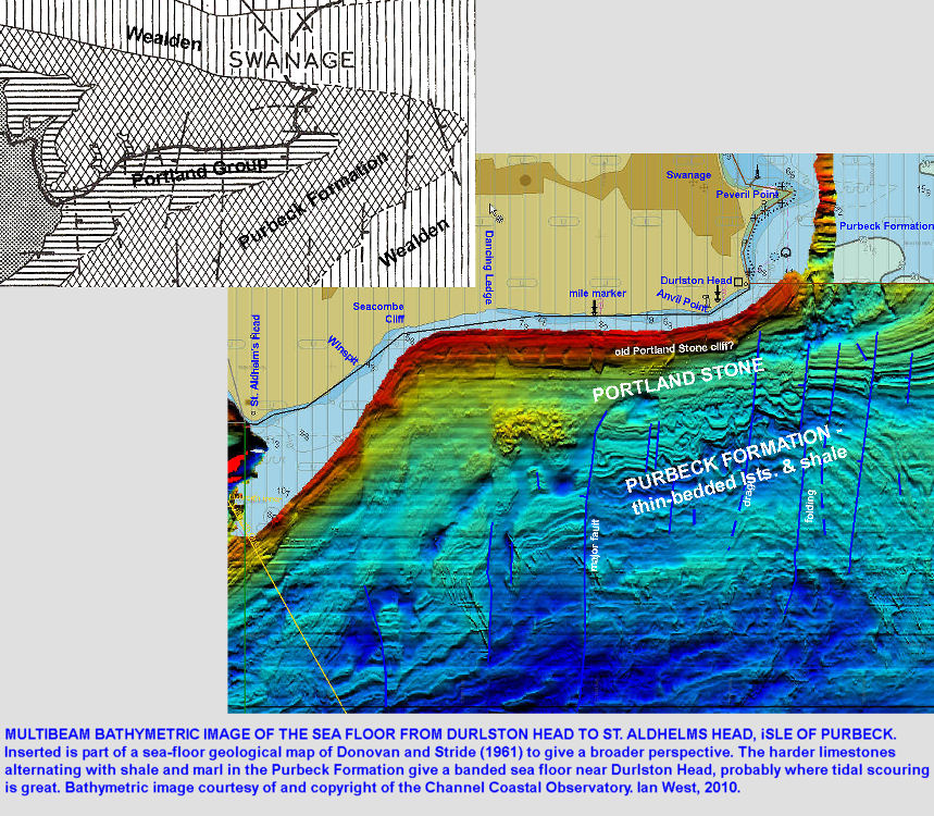 Multibeam bathymetry of the sea floor south of the Isle of Purbeck from Durlston Head to St. Aldhelm's Head, Dorset, courtesy of the Channel Coastal Observatory