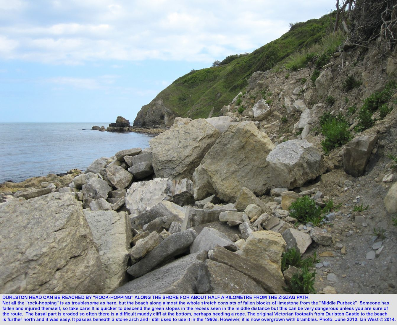 The approach to Durlston Head, Dorset, seen when rock-hopping along southern Durlston Bay towards it, June 2010