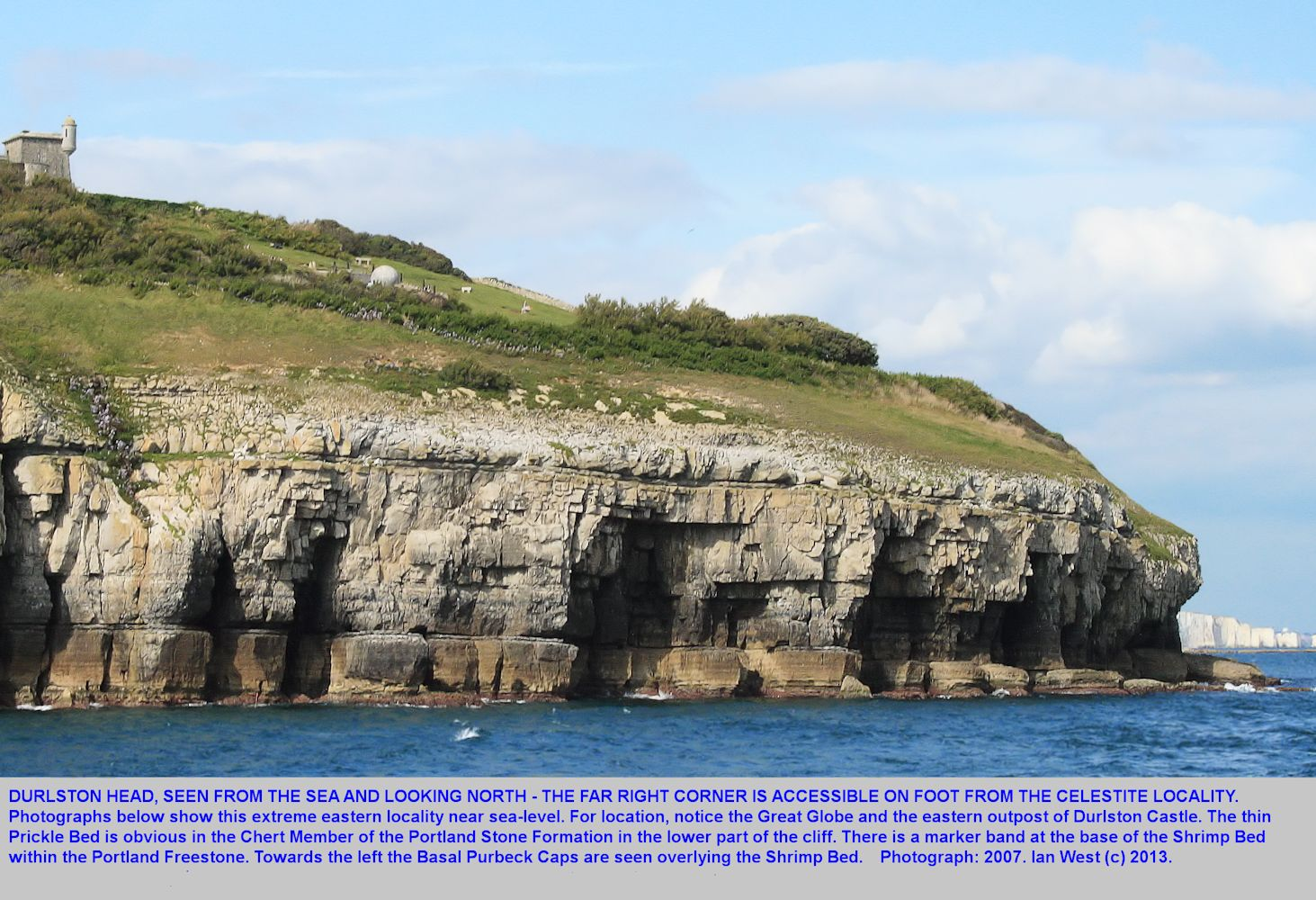 The easternmost corner of Durlston Head, Dorset, as seen from the sea in 2007, and with the foot of the cliffs  just accessible on foot from the celestite exposure and the Jagged Rock