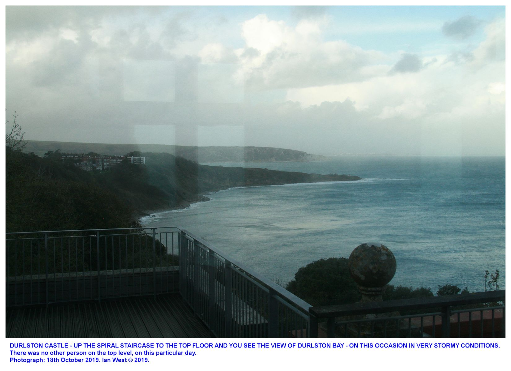 A view of Durlston Bay, in stormy weather from the then-empty,top room of Durlston Castle, Dorset, 18th October 2019, Ian West