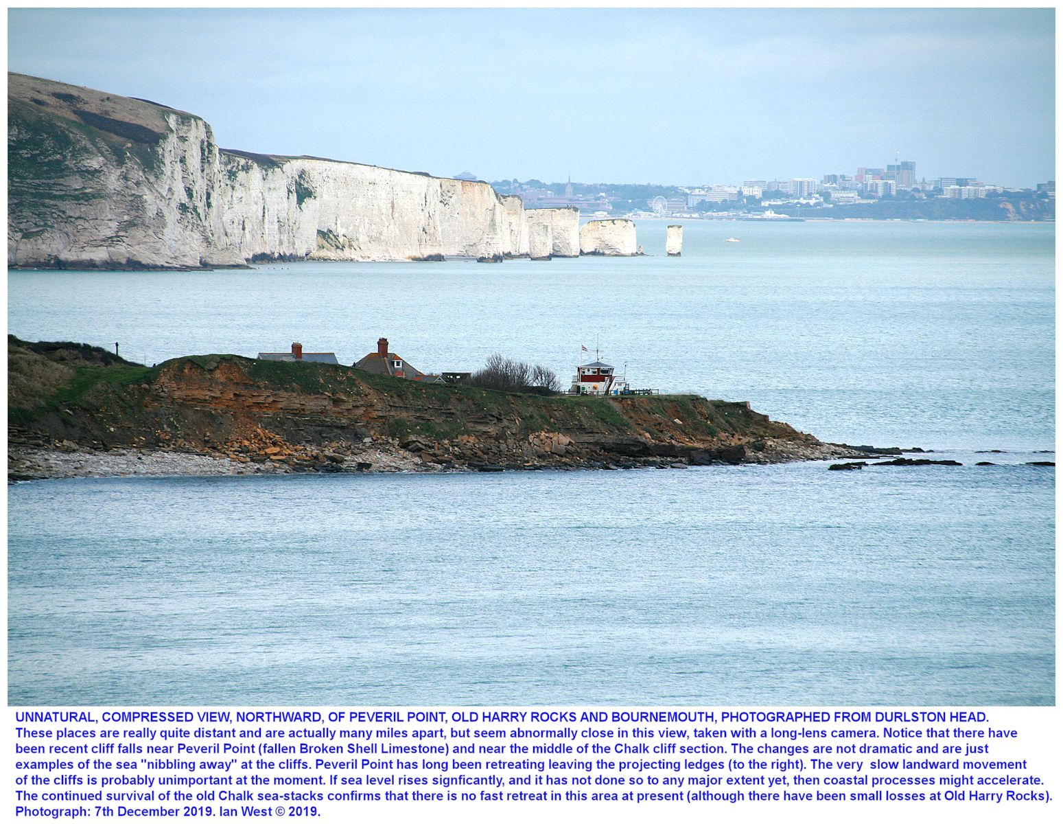 Distant view northward, photograph with long magnifying lens, from Durlston Head, Swanage, towards Peveril Point, Old Harry Rocks and Bournemouth beyond, 7th December 2019, Ian West