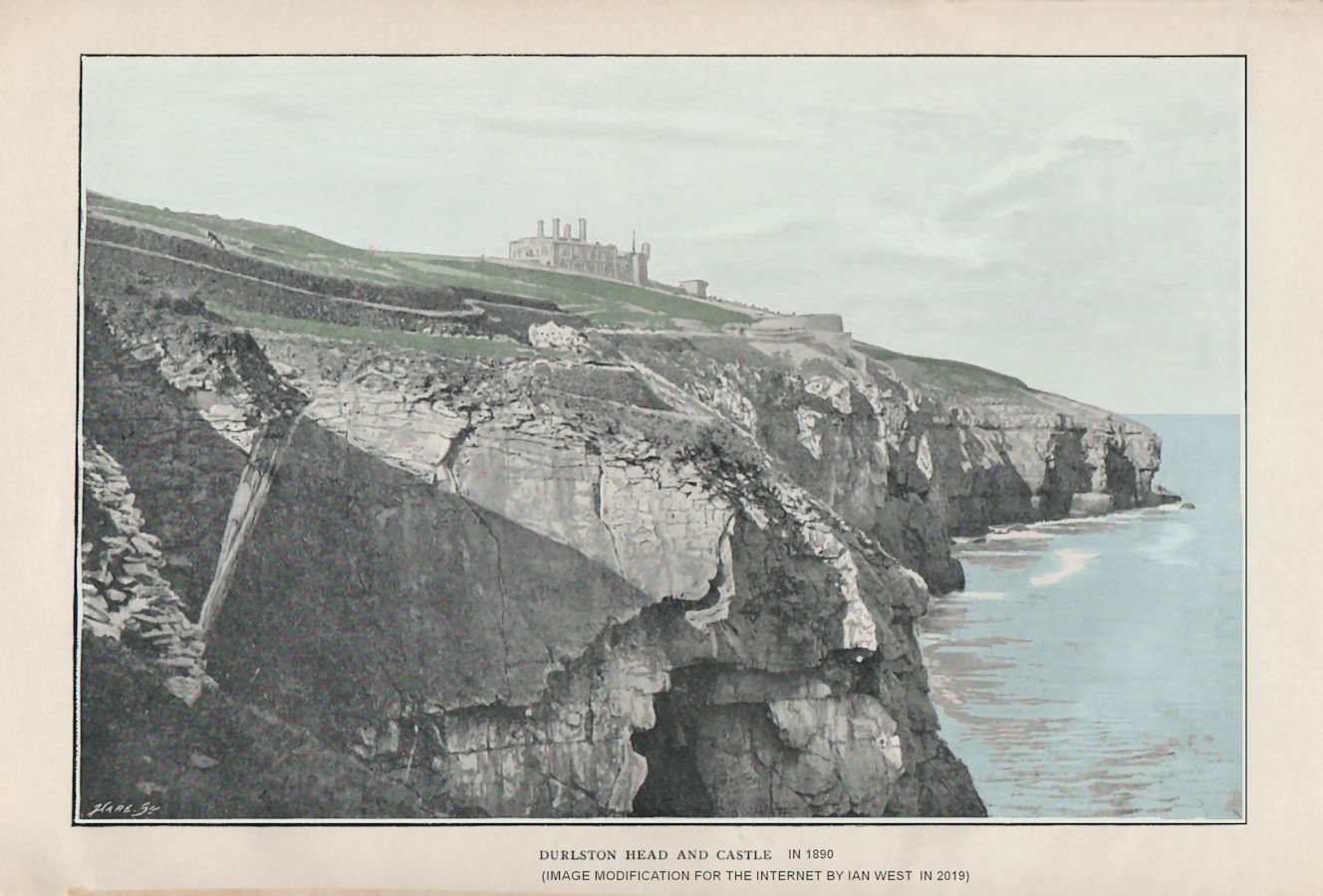 Durlston Head, with Durlston Castle, as photographed in 1890, original image, modified, smoothed and partially coloured for the internet by Ian West, 2019