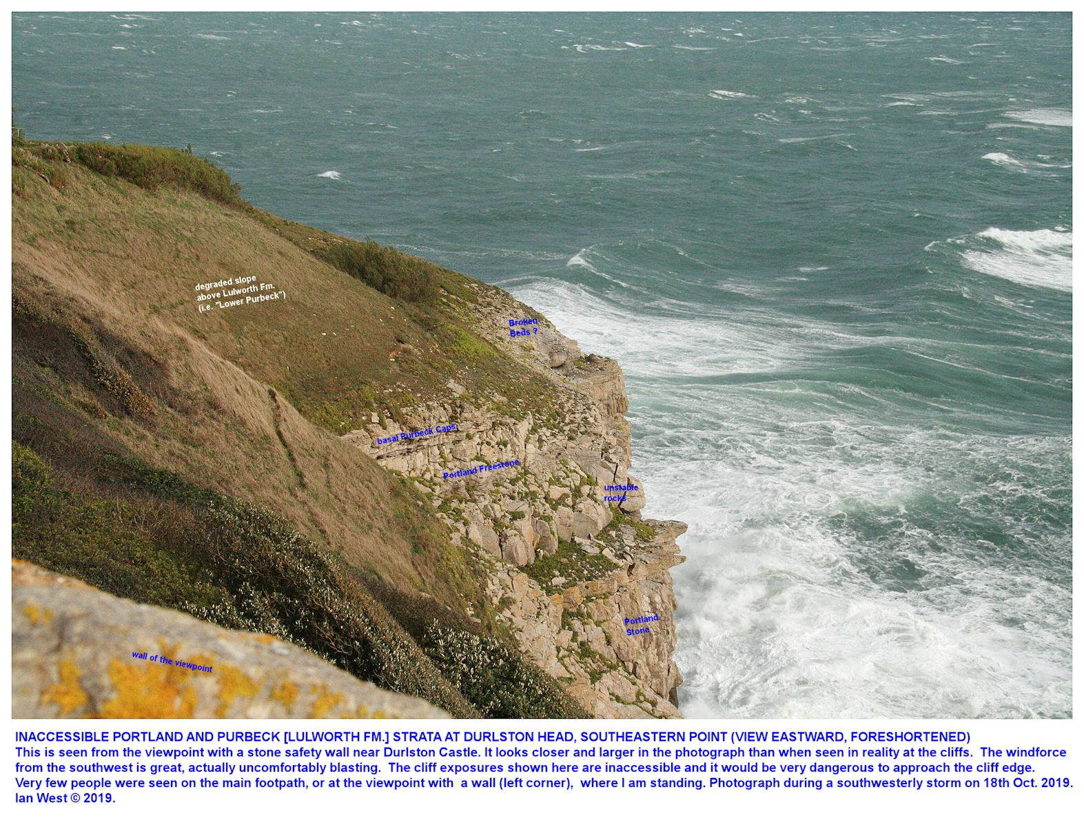 The cliff sequence of Portland and Purbeck or Lulworth Formation strata at Durlston Head, as seen eastward from the lookout or viewpoint in very stormy conditions, 18th October 2019, Ian West