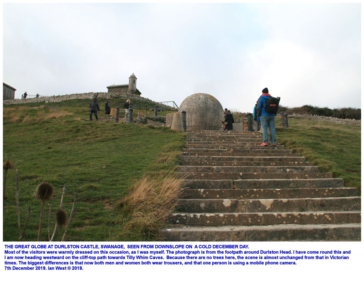The Great Globe at Durlston Castle, Durlston Head, Dorset, seen from further down the slope on a cold day, 7th December 2019