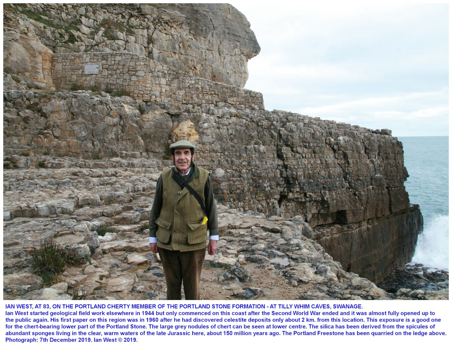 Ian West at Tilly Whim Caves on the coast near Swanage, Dorset