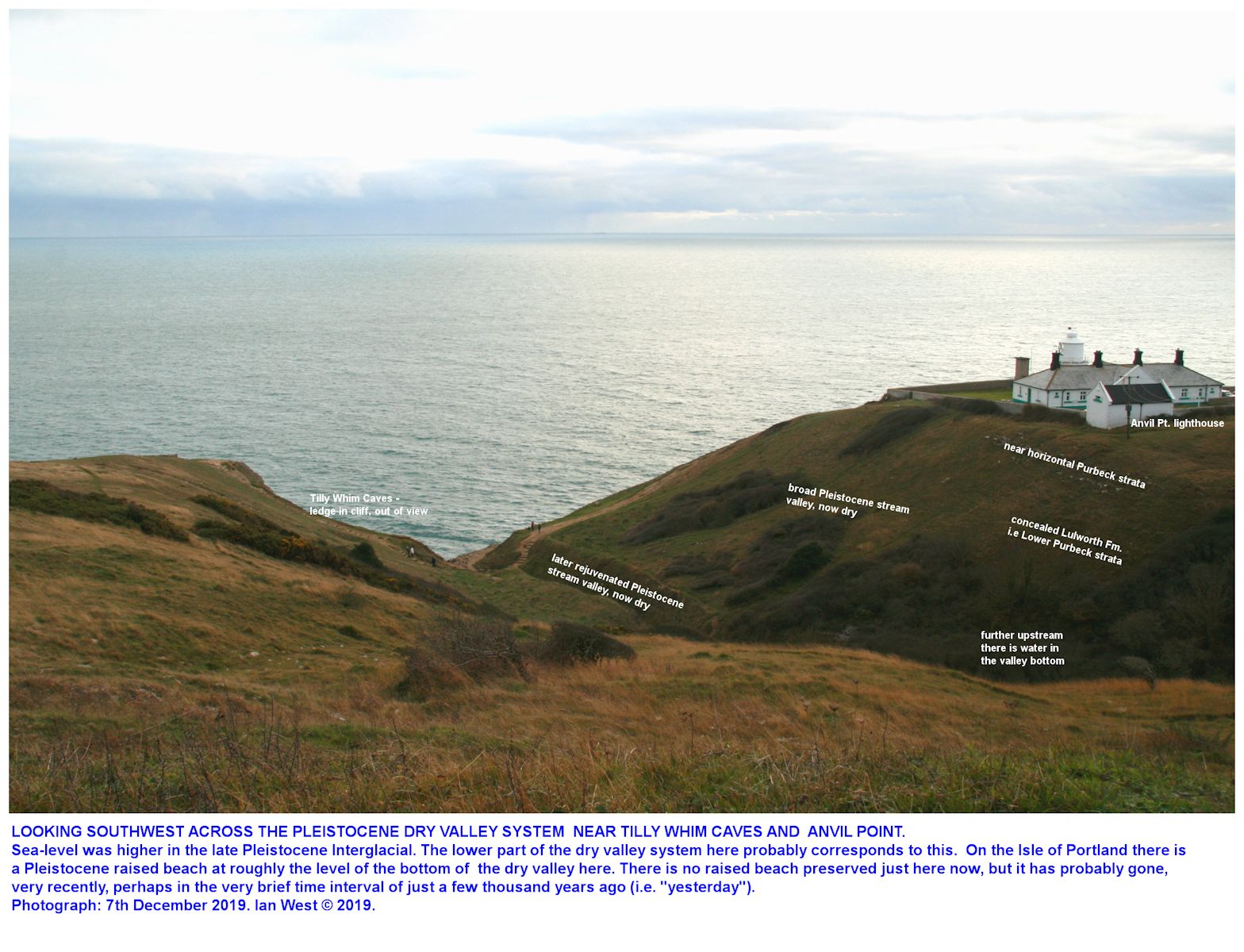 Labelled version of the dry valleys near Tilly Whim Caves and the Anvil Point lighthouse, as seen from the narrow road heading back to Durlston Head, stormy weather, 18th October 2019, Ian West