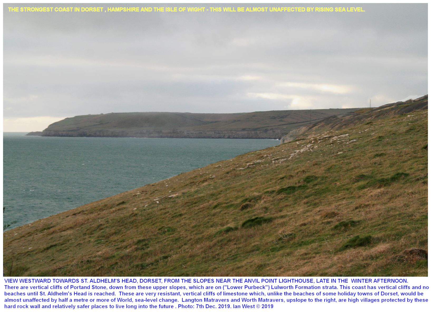 A view of the robust, rocky cliffs of Portland Stone, west of Anvil Point and extending westward to St. Aldhelm's Head, a safe and sturdy, natural defence against rising sea-level, Ian West, late afternoon, 7th December 2019