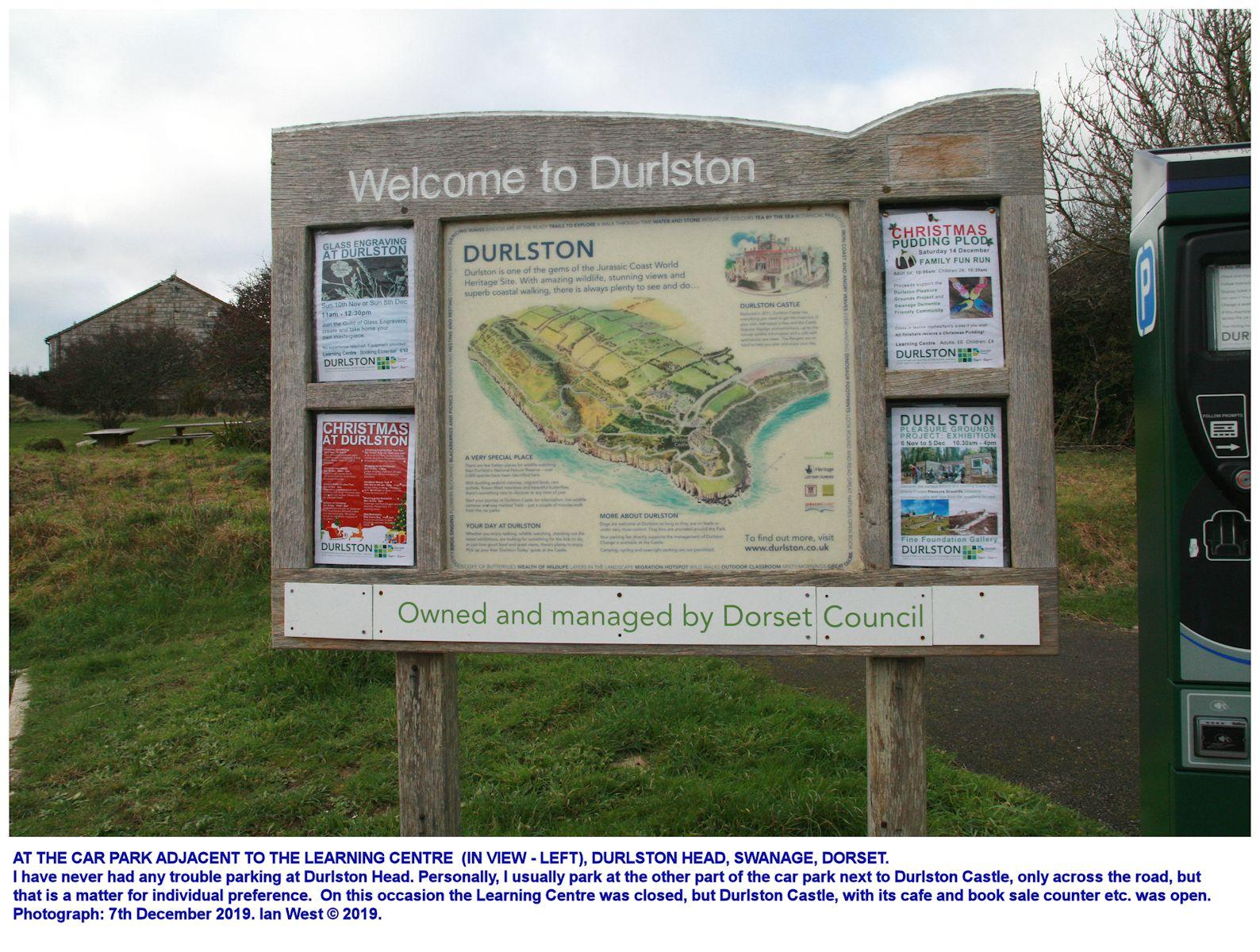 Durlston Head, Dorset, part of the car park near the Learning Centre, December 2019