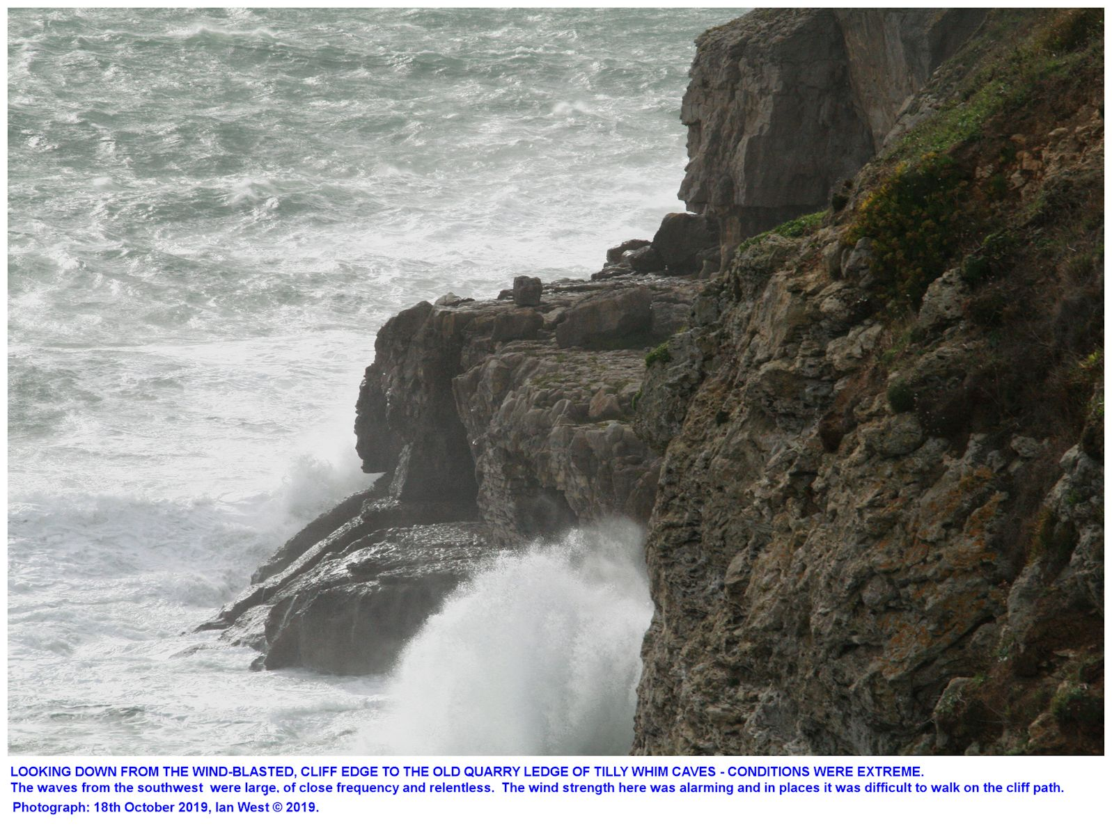 The Tilly Whim Caves ledge as seen in a severe storm, 18th October 2019, Ian West