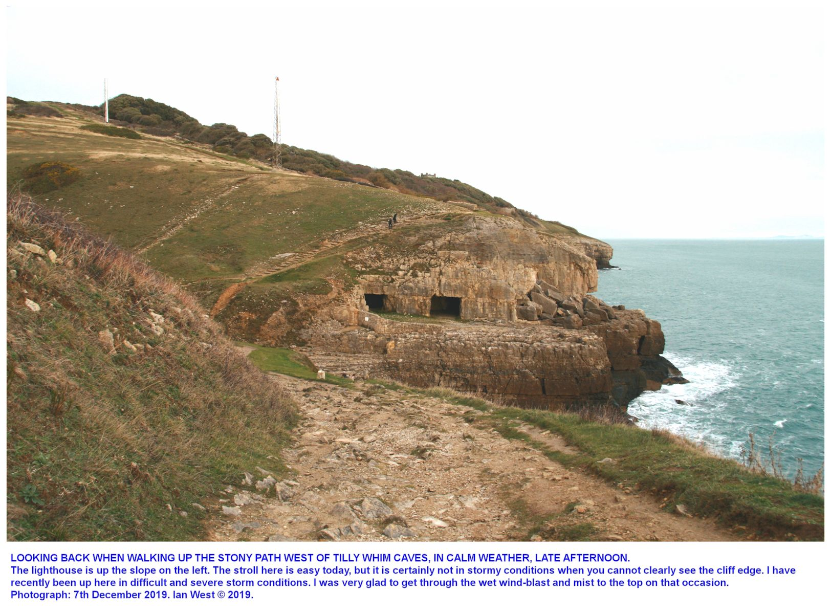 Up the coastal path adjacent to the lighthouse at Anvil Point, looking back eastward towards Tilly Whim Caves, Swanage, Dorset, in good weather conditions, photograph by Ian West, late afternoon, 7th December 2019