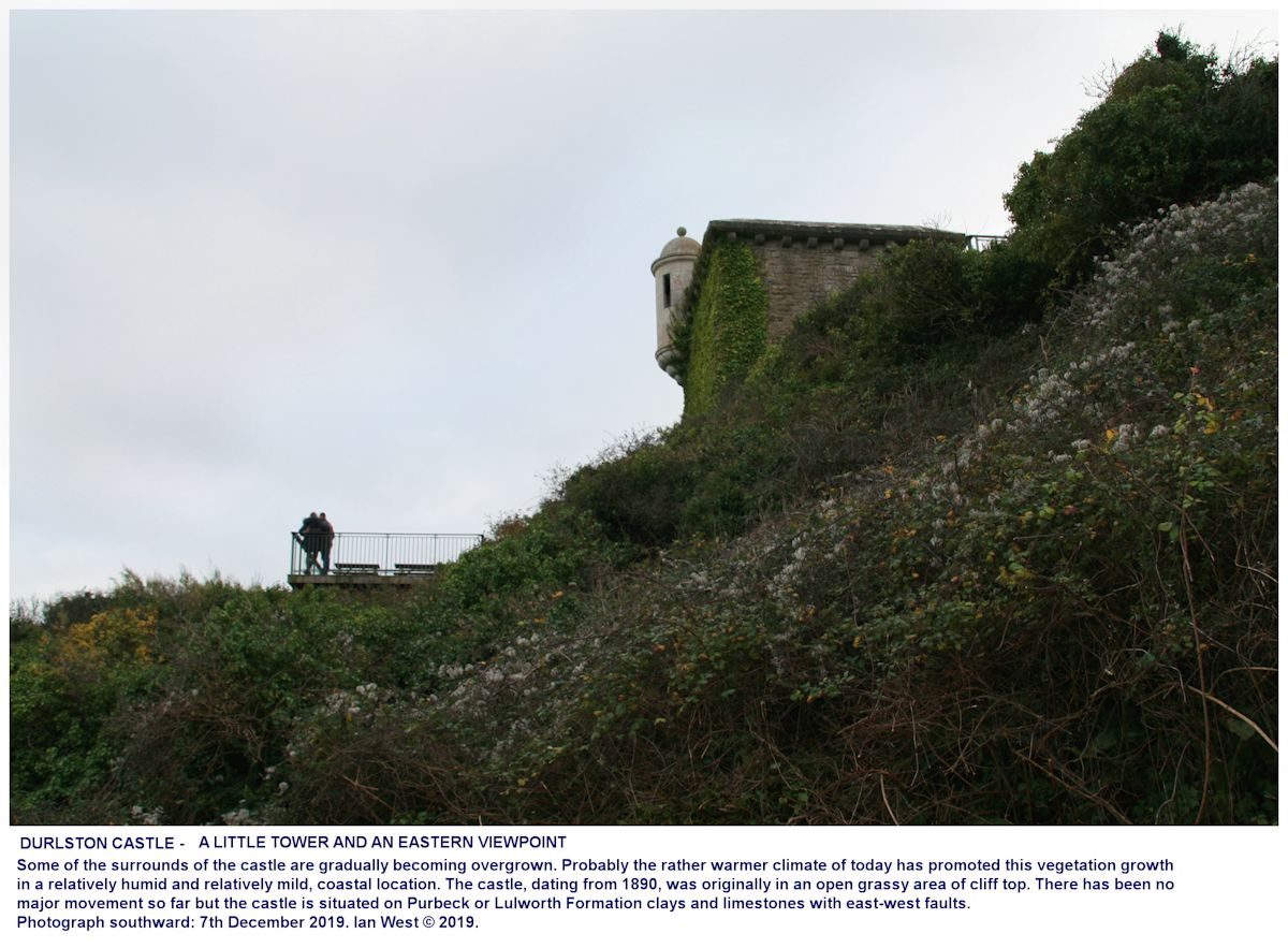 The eastern part of Durlston Castle seen, looking south, from the footpath round the headland, with the Great Globe not far away to the left, this is to show part of the general setting, 7th December 2019