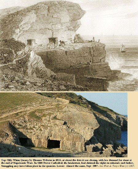 Tilly Whim Caves (quarry) west of Durlston Head, Swanage, Dorset, in 1816 and 2007