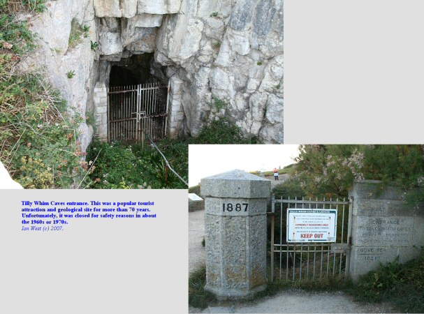 The old entrance to the Tilly Whim Caves tourist attraction west of Durlston Head, Isle of Purbeck, Dorset