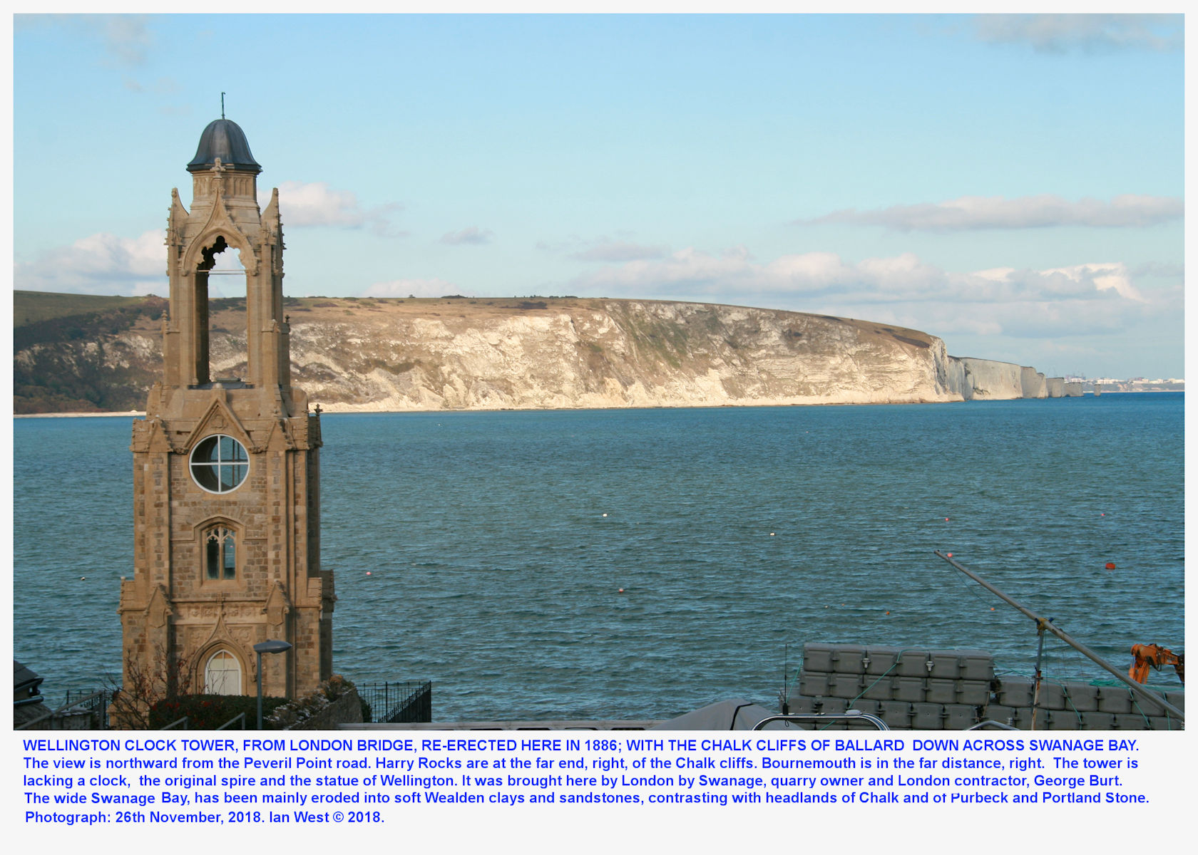 the Wellington Clock-Tower from the old London Bridge, and now situated on the north side of the Peveril Point promontory, photograph, 26th November 2018