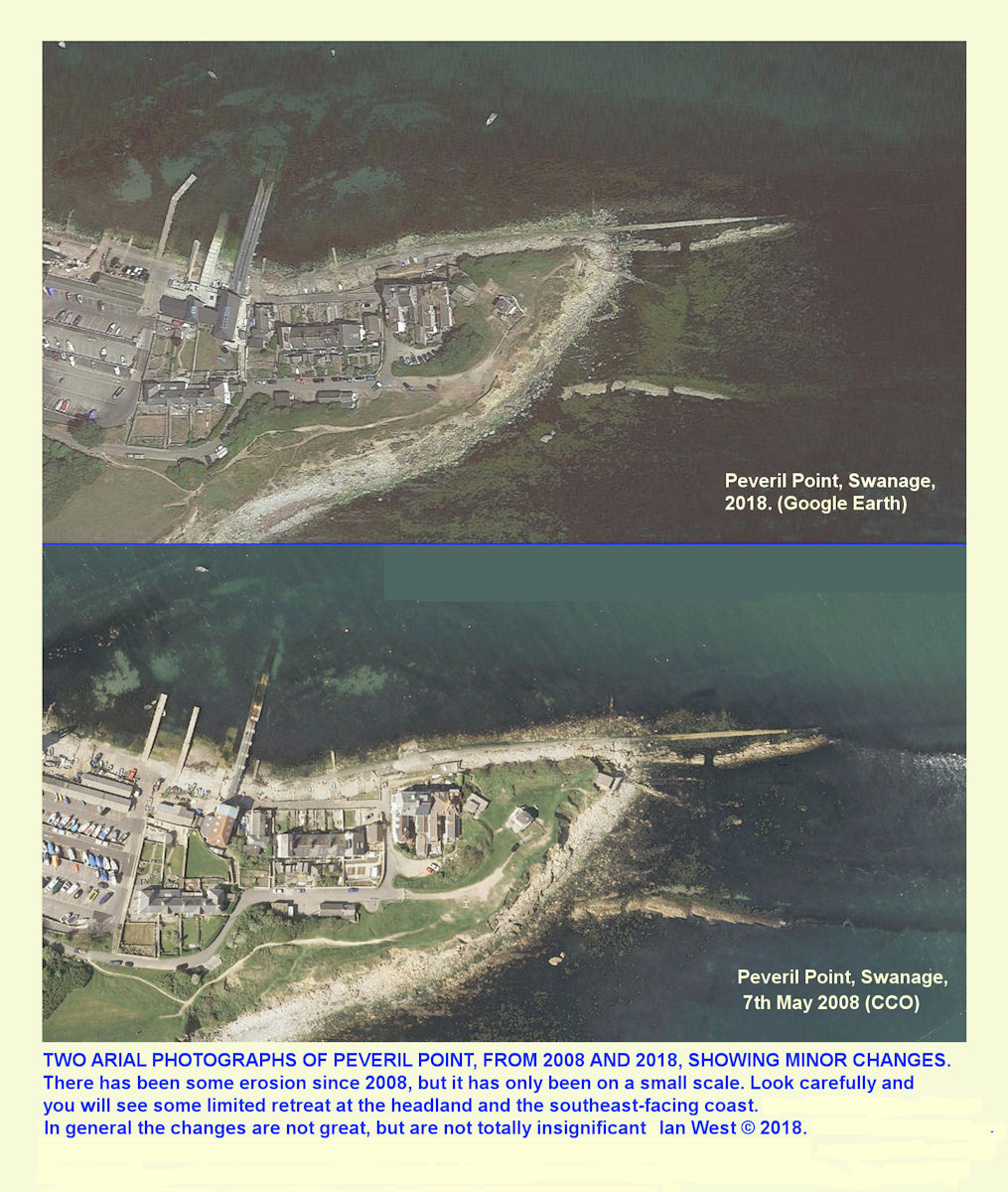 Comparitive aerial views of Peveril Point, Swanage, in 2008 and in 2009