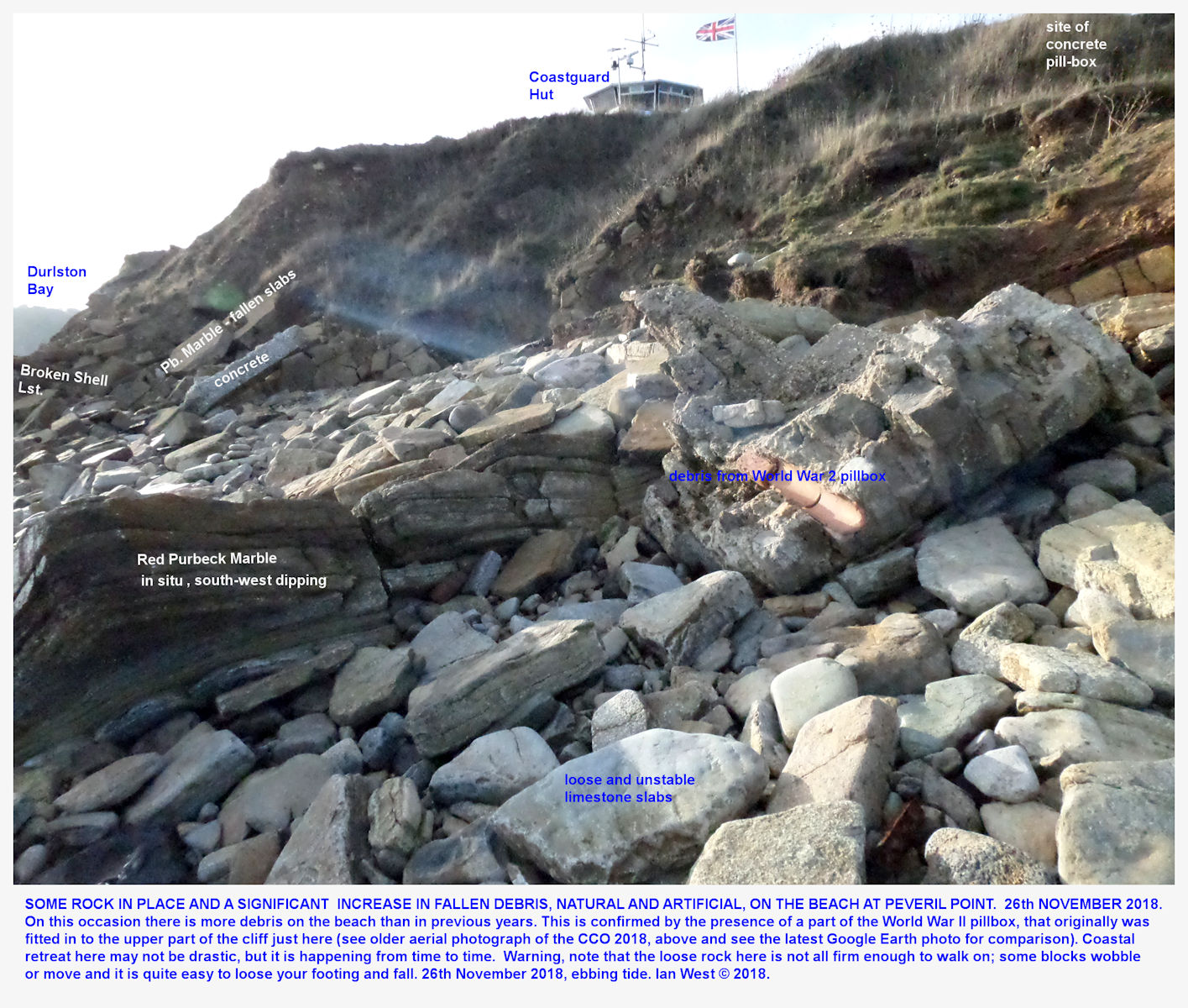 A ridge of Purbeck Marble, the Red Marble, on the beach at Peveril Point, Durlston Bay, Dorset, November, 2018, with debris from the fallen remains of the former gun emplacement and viewpoint, above, in the cliff