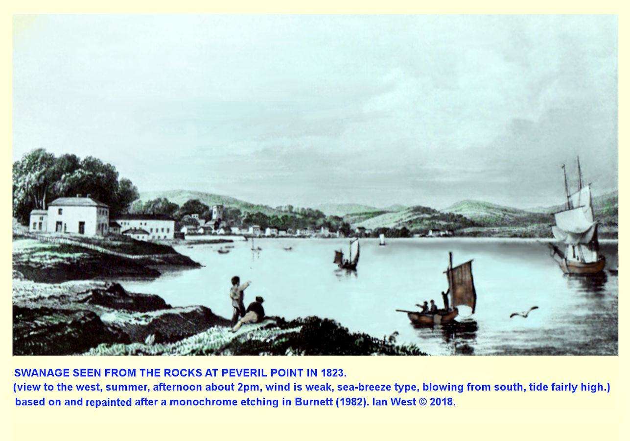 The view to Swanage from Peveril Point in 1823, before the small headland was built-up