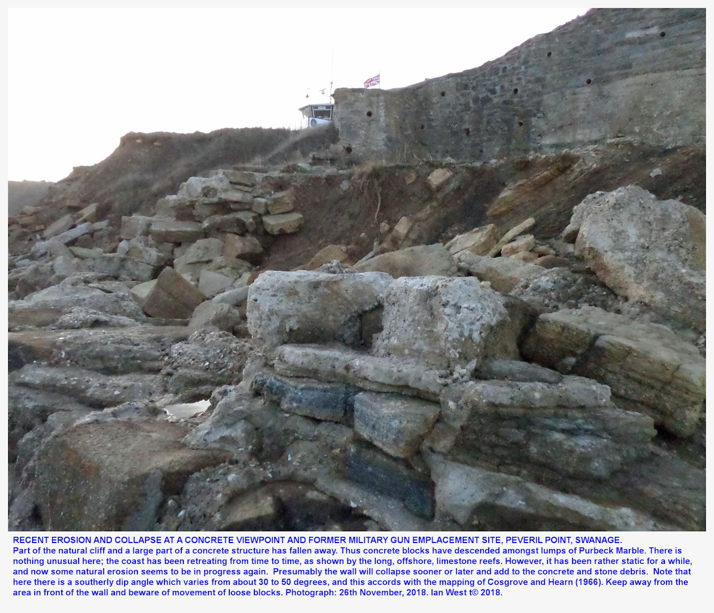 Collapse of concrete at a former gun emplacment and subsequent viewpoint, Peveril Point, showing south-dipping Purbeck Marble