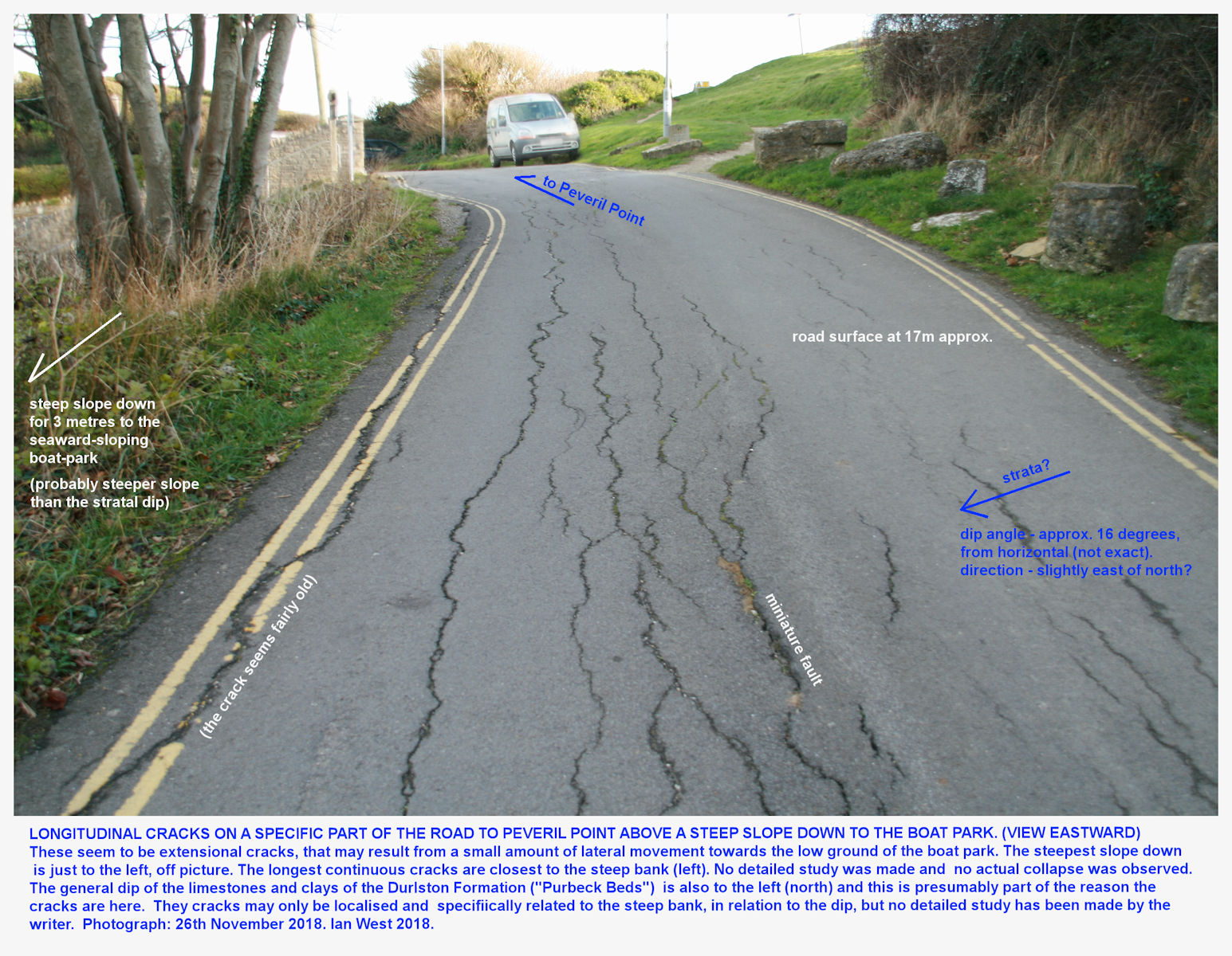 Narrow cracks in the road, apparently only occurring at a small location upslope from the eastern side of the boat park area, Peveril Point, 26th November 2018