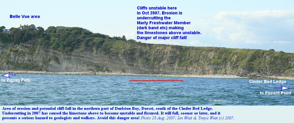 Danger area of cliff fall in Durlston Bay, Dorset, October 2007