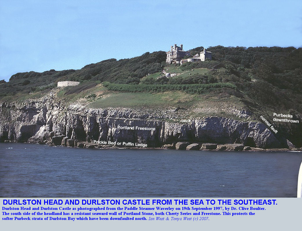 Durlston Head, and Durlston Castle, Dorset, photographed from the Paddle Steamer Waverley by Dr Clive Boulter on 19 September 1997