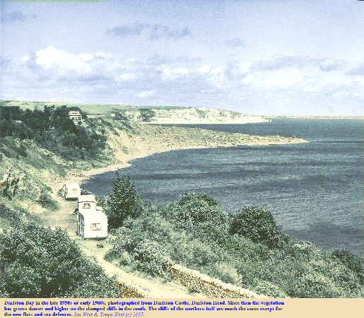 An old photograph of Durlston Bay, Dorset, taken in the late 1950s or early 1060s, from Durlston Castle