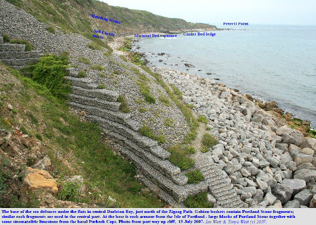 The basal part of the sea defences in front of the flats which are  above the centre of Durlston Bay, Dorset