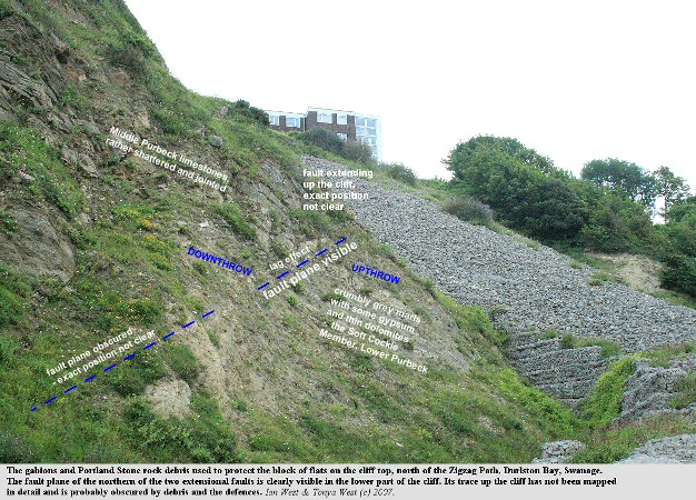 A slope of Portland Stone rock debris and gabions in the central part of Durlston Bay, Dorset, constructed to protect some flats on the cliff top from collapse