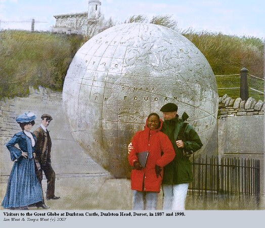 Visitors to the Great Globe at Durlston Castle, Durlston Head, Dorset, with visitors of 1887 and 1998