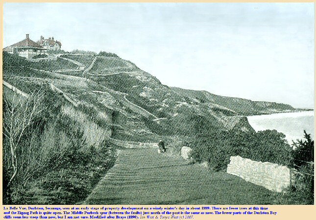 The La Belle Vue area of central Durlston Bay, Swanage, Dorset in about 1889