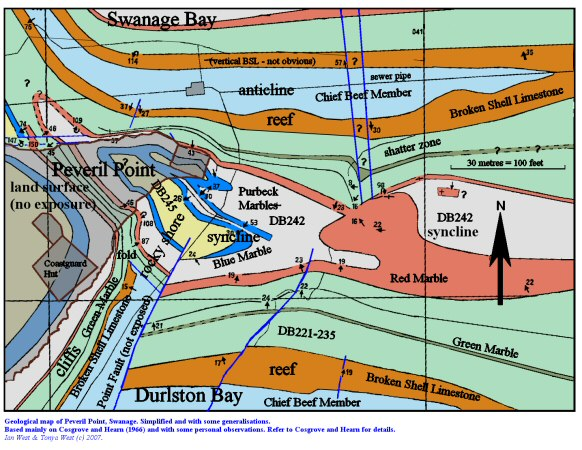 Geological map of Peveril Point, Swanage, 2007
