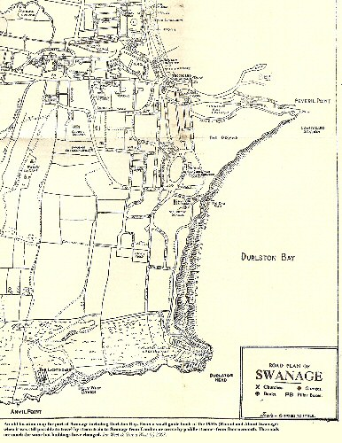 Old location map for Durlston Bay, Swanage, Dorset and surrounding area, from the 1950s