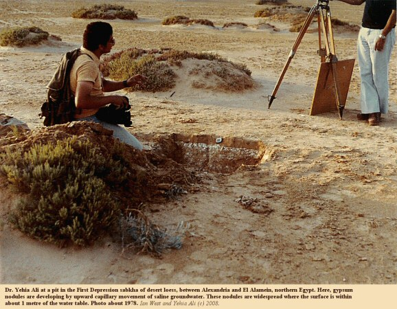 Yehia Ali at a pit in the First Depression sabkha, between Alexandria and El Alamein, northern Egypt, 1978