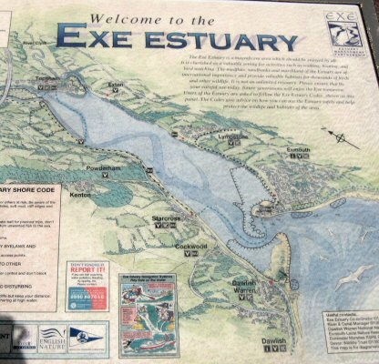 Notice showing the main features and of Dawlish Warren, Devon, and its relationship to the Exe Estuary