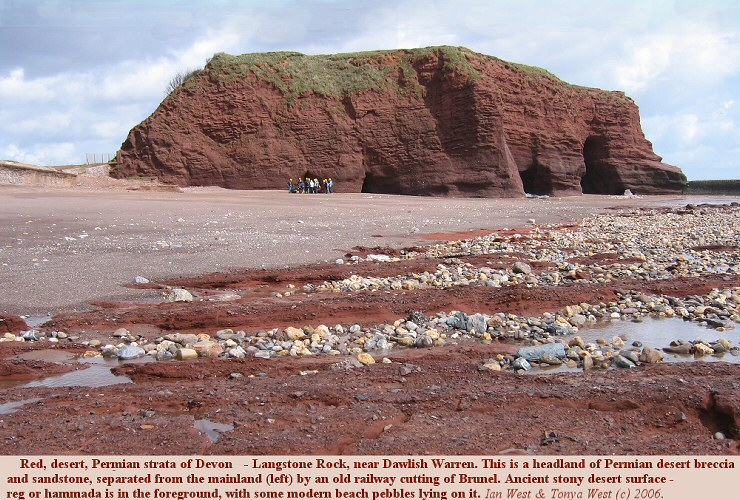A conspicuous red rock of Devon, southern England - a headland of red desert breccia and sandstone of Permian age. Langstone Point, near Dawlish Warren