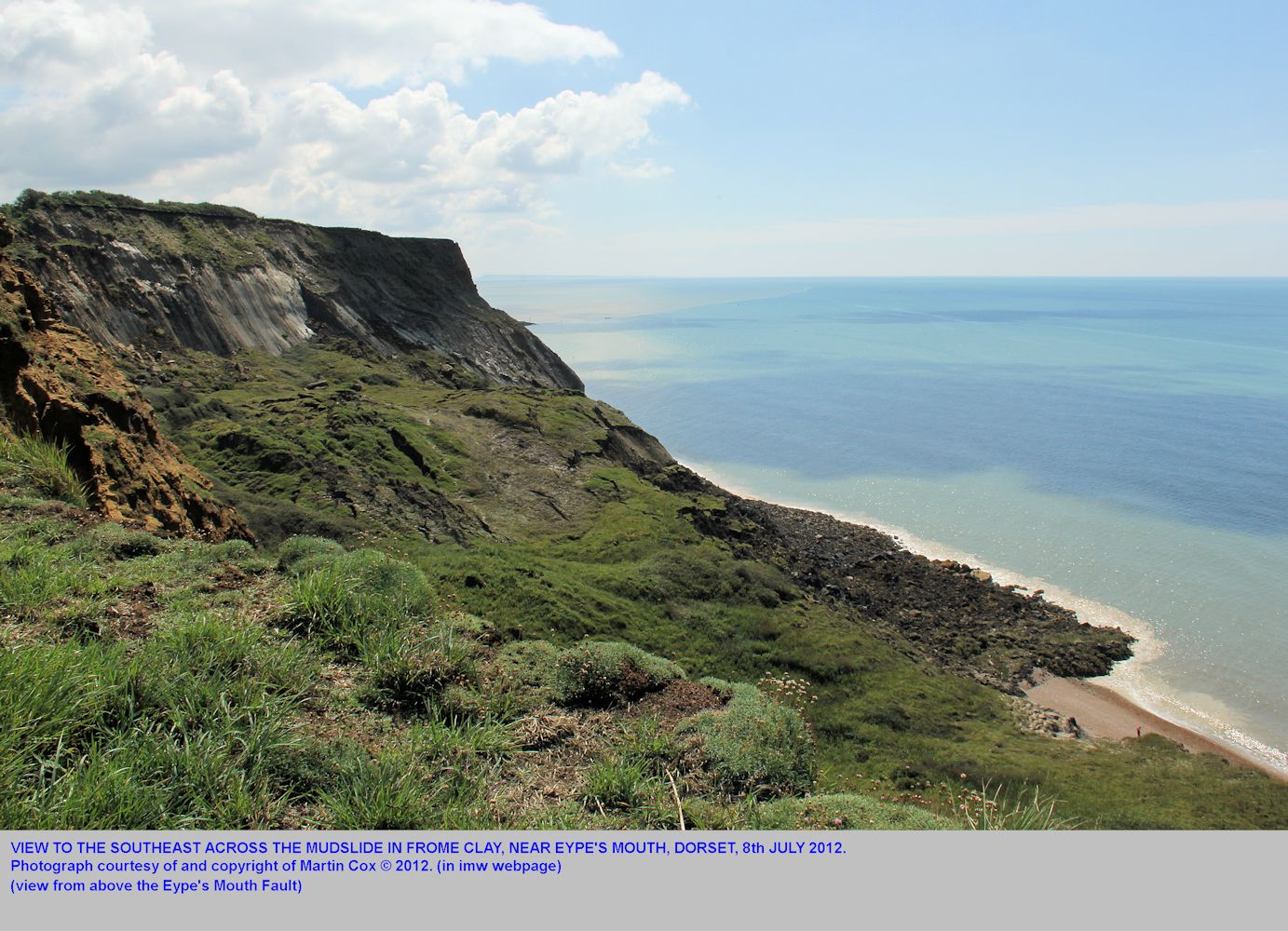 A view across the broad mudslide in the Frome Clay near Eype Mouth, near Bridport, Dorset, photographed by Martin Cox, 8th July 2012