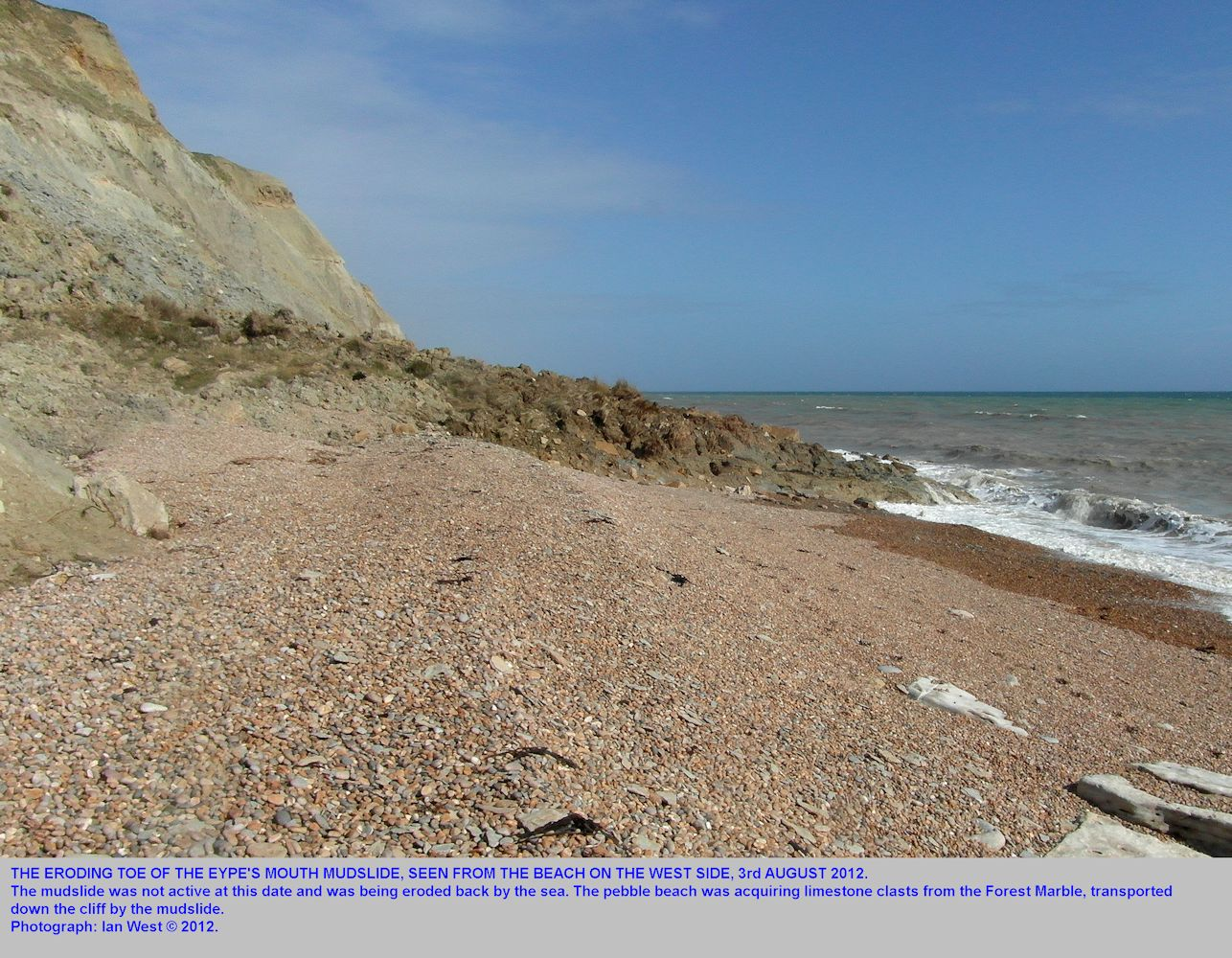 The eroding toe of the mudslide at Fault Corner, near Eype's Mouth, near Bridport, Dorset, 3rd August 2012