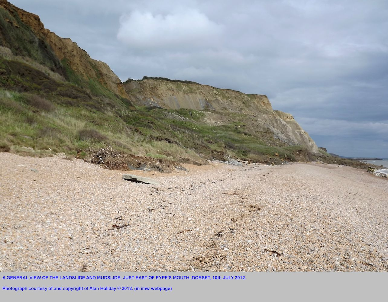 A general view of the mudslide east of Eype's Mouth, near Bridport, Dorset, 10th July 2012, photograph by Alan Holiday