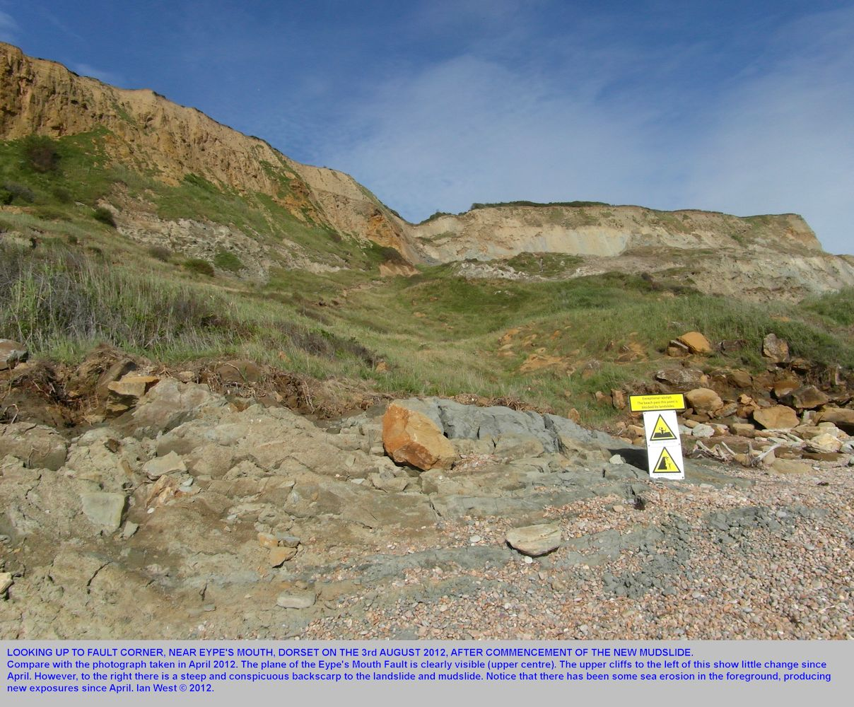 Fault Corner, Eype's Mouth, near Bridport, Dorset, on the 3rd August 2012 showing the new mudslide and renewed coast erosion