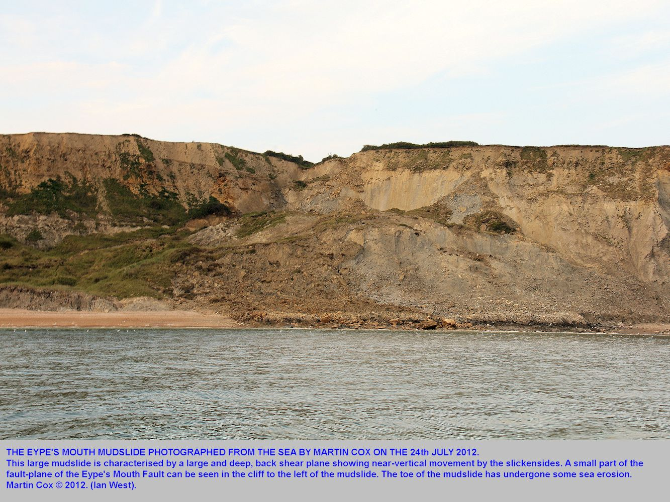 The large mudslide at Eype's Mouth, near Bridport, Dorset, photographed from the sea by Martin Cox, 24th July 2012