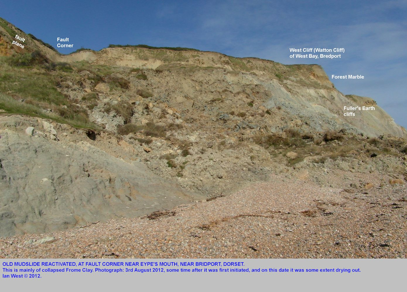 The 2012 mudslide at Fault Corner near Eype's Mouth, near Bridport, Dorset, seen on the 3rd August 2012, from the west side