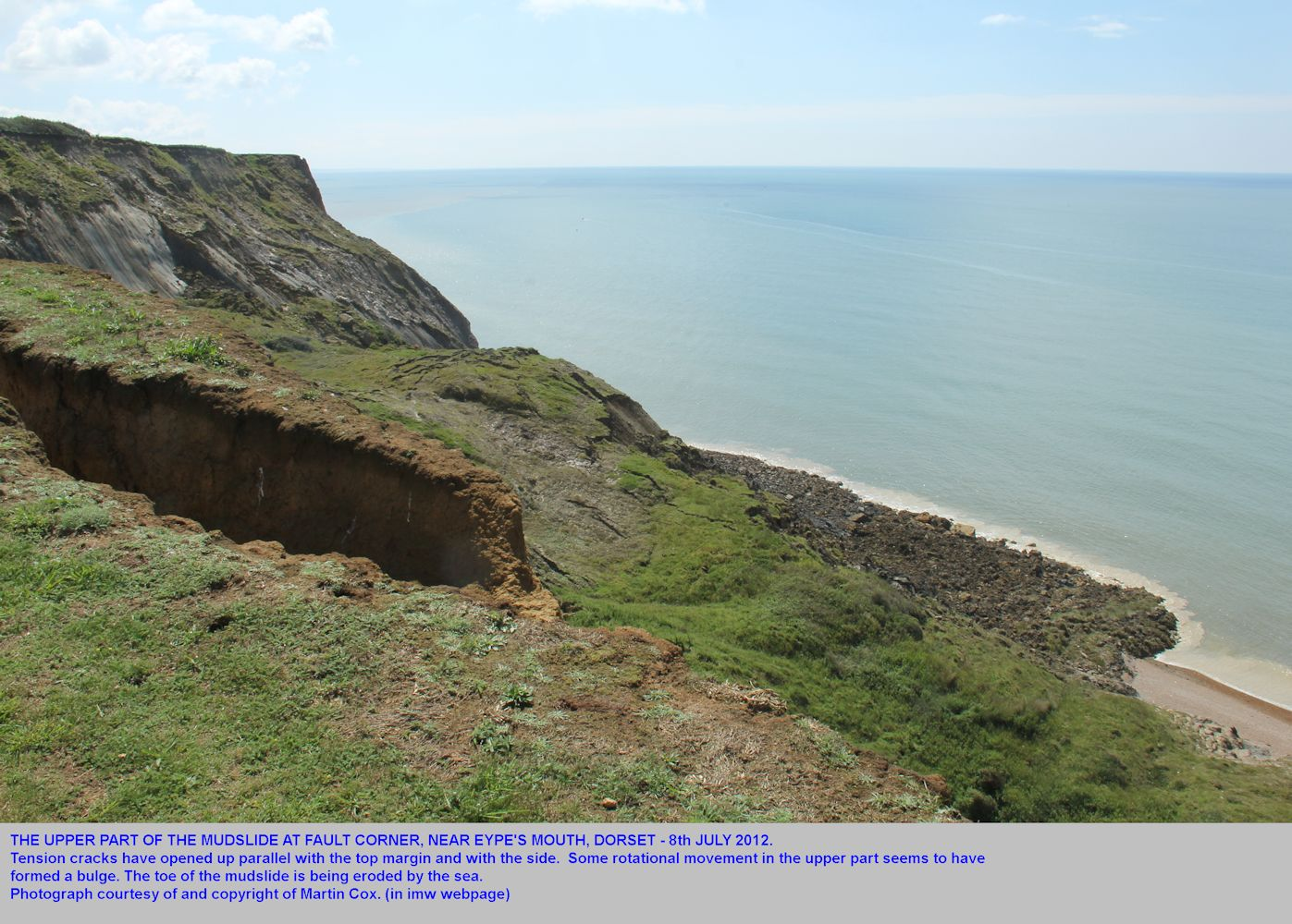 The upper part of the mudslide at Eype's Mouth, near Bridport, Dorset, with tension cracks, photographed by Martin Cox