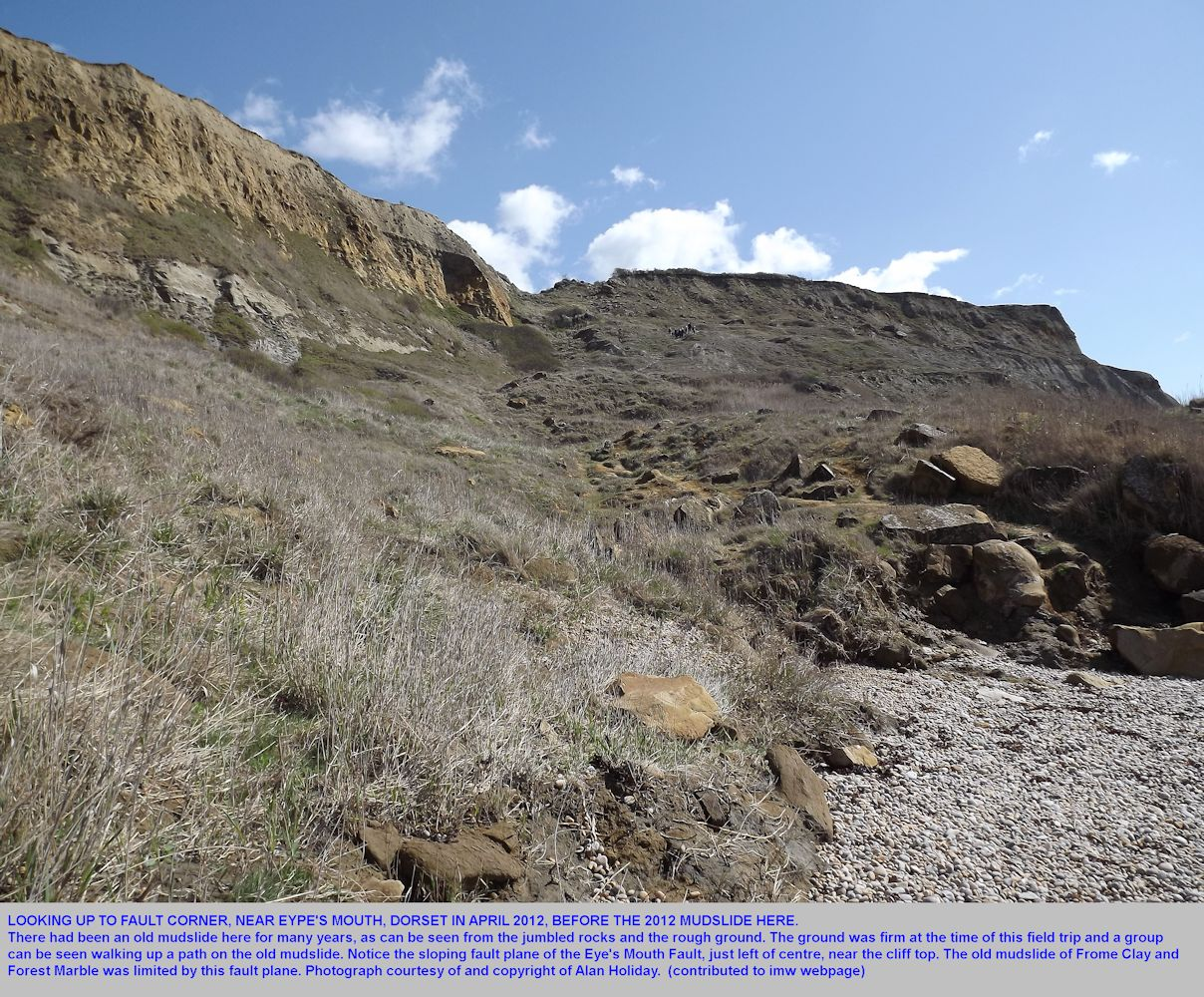 Fault Corner, Eype's Mouth, near Bridport, Dorset, in April 2012, prior to the renewed mudslide here later in the year, photograph by Alan Holiday