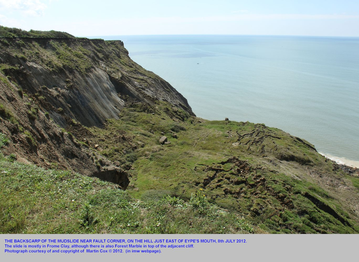 The backscarp near the cliff top of the mudslide at Eype's Mouth, near Bridport, Dorset, on the 8th July 2012, photograph by Martin Cox