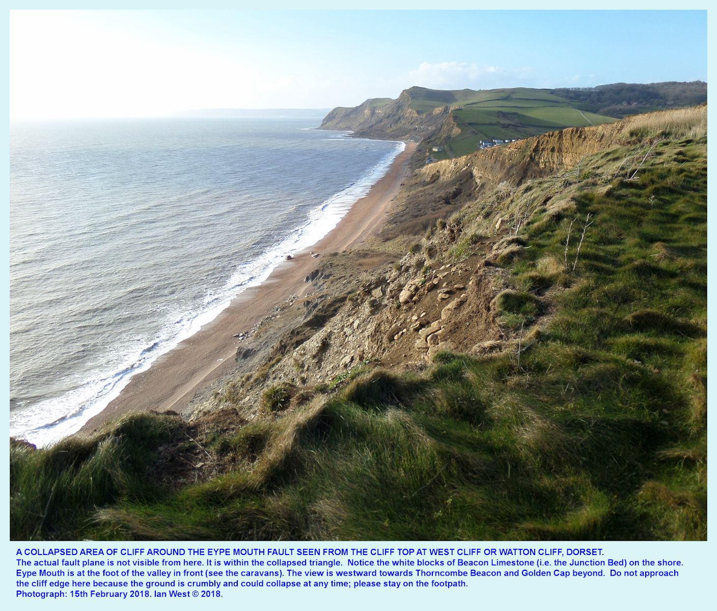 Fault Corner, Eype's Mouth, near Bridport, as seen from the cliff edge above, on the 15th February 2018