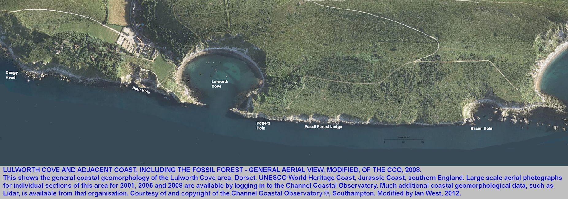 Aerial photograph showing Lulworth Cove, the Fossil Forest ledge, Bacon Hole, Stair Hole and Dungy Head, Dorset, Channel Coastal Observatory