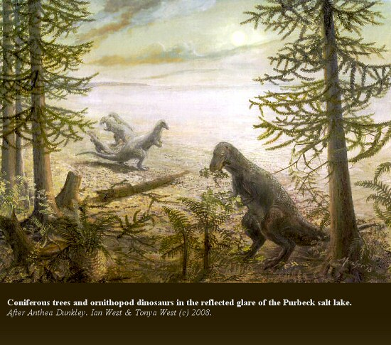 Coniferous trees and ornithopod dinosaurs in the glare of the Purbeck salt lake in late Jurassic times, Dorset, after a painting by Anthea Dunkley (1978)