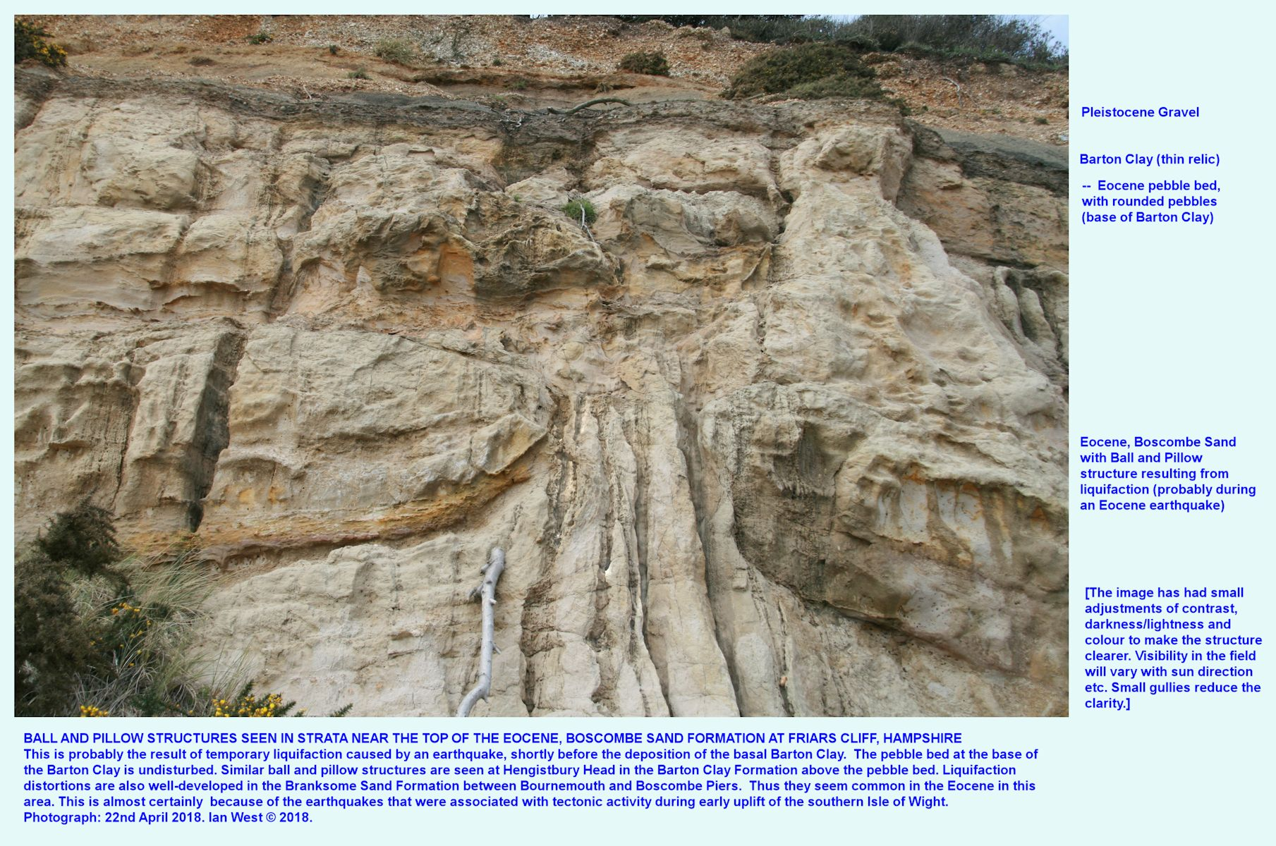 More Ball and Pillow structure in the Boscombe Sand Formation at Friars Cliff, near Highcliffe, for comparison with equivalent strata at Hengistbury Head, April, 2018