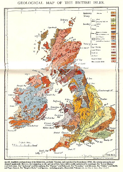 Old geological map of the British Isles, after Dwerryhouse, 1910